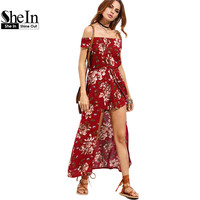 SheIn 2017 Summer Beach Women Rompers and Jumpsuits Burgundy Flower Print Short Sleeve Off The Shoulder High Low Romper