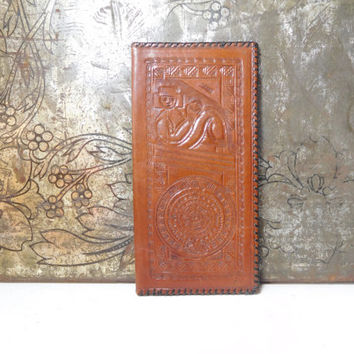 Mens Tooled Leather Long Wallet Vintage Third Anniversary Gift Thin Billfold Stamped Design Gentlemens Western Brown Black Lacing Mexico