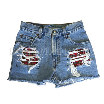 Women's Vintage Cut Off High Waisted Denim Shredded Destroyed Plaid Flannel Cuffed Shorts Levi Wrangler Low Rise Jeans Ripped
