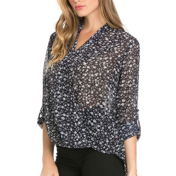 V-Neck Wrap Blouse Navy White Floral