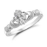 Sterling Silver Irish Claddagh Ring with Clear Simulated Stone