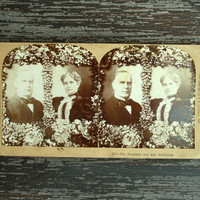 Antique Stereoview Card, President and Mrs McKinley from 1896, Keystone View Company Stereoscope Card, 3D Photo Card, Collectible Photograph