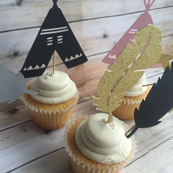 TRIBAL CUPCAKE TOPPERS, teepee, feathers, arrows toppers for cupcakes, glittery gold, black, beige and pink tribal print cake toppers