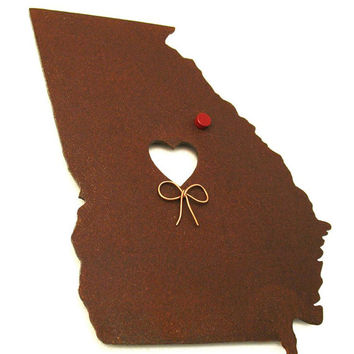 Georgia State Map Metal Wall Art Sculpture - State Sculpture - State Silhouette - State Decor - Rustic - Rusty
