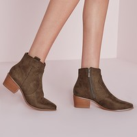 Missguided - Western Pointed Toe Ankle Boots Taupe