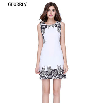 Glorria  Print Tunic White Dress  Summer Sundress Ladies Elegant Office Wear Work Party Mini Dresses Clothing Vestidos
