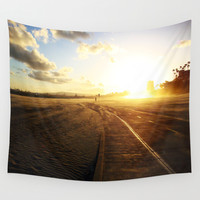 Run into the Sunset Wall Tapestry by RichCaspian
