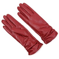 Wrinkled Faux Leather Long Gloves