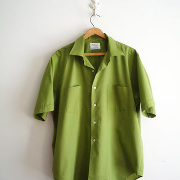 Midcentury Mens Arrow Short Sleeve Green Shirt