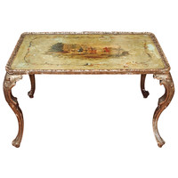 Italian Painted And Silver Gilt Tea Table 19th C.