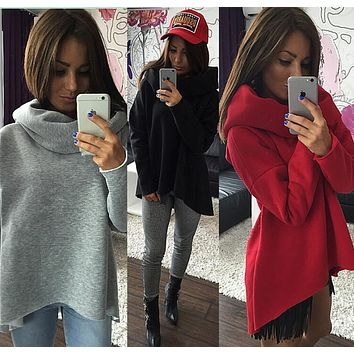 Asymmetric Shawl Collar Pure Color Pullover Sweater