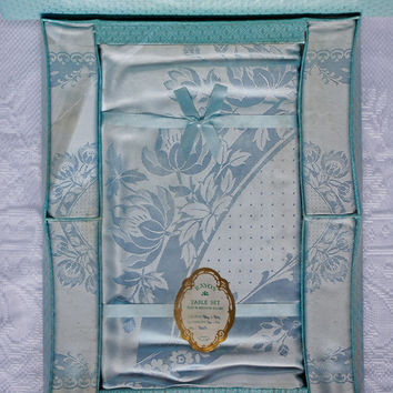 Ice Blue Irish Rayon Vinage Tablecloth and Napkin Set in original Box Beautiful floral and spot pattern Made in Northern Ireland