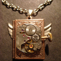 Steampunk Neo Victorian Watch Movement LOCKET Necklace with Wings (522)