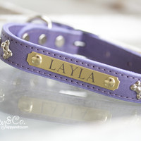 Personalized Leather Bone Crystal Dog Collar