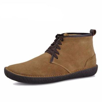 Men's Suede Leather Bended Wool Classic Chukka Boots - Beauty Ticks