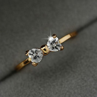 Austria Crystal rings Gold Color finger Bow ring wedding engagement Crystal Rings women jewelry -0411