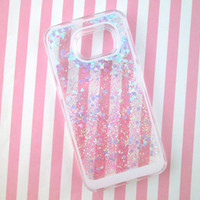 Samsung Galaxy S6 Blue Heart Glitter Liquid Waterfall Case, Hologram Quicksand Bling Case