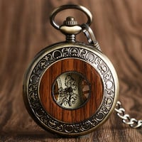 The Conductor - Wooden Pocket Watch (Mechanical Hand Winding)