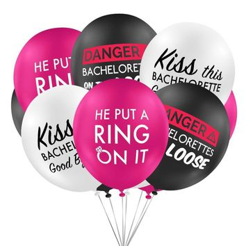 Bachlorette Party Balloons Ring On it Kiss Danger Hen Party Wedding Balloons Cheers Bitches Team Bride Birthday Party Supplies