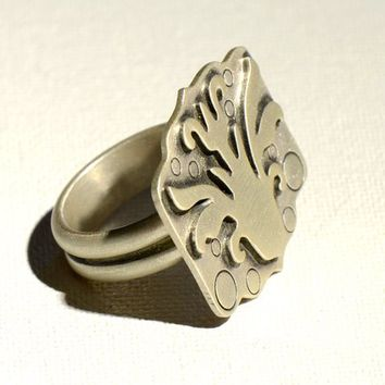 Art Deco Sterling Silver Flower Statement Ring