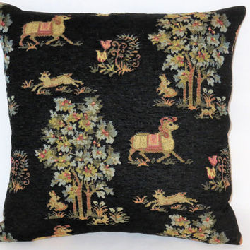 "Horse Tapestry Pillow, Black Chenille Brocade, 17"" Sq, Medieval Fairy Tale Motifs, Pony Trees Bunny Goat, Ready Ship"