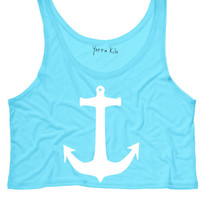Cute Anchor Crop Tank Top