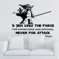 Star Wars Wall Decal Quote Yoda Quotes a Jedi Uses the Force - Never for Attack Vinyl Sticker Decals Home Decor Dorm Bedroom Window ZX36