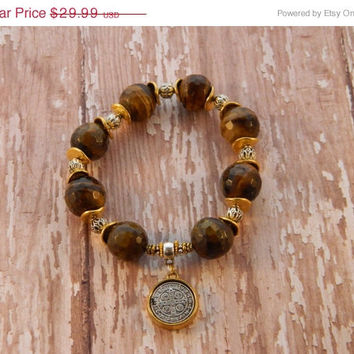 SALE 20% Off Bracelet Saint Benedict Medal Charm 14mm Faceted Tigers Eye Agate Beads and Gold and Silver Accent Beads Handcrafted Handmade S