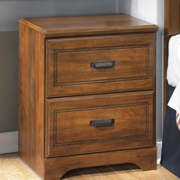 0-000446>Barchan Two Drawer Night Stand Medium Brown