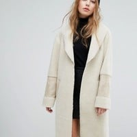 New Look Faux Shearling Teddy Coat at asos.com
