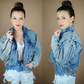 SALE Vintage 1980s cropped high low dolman sleeve acid was denim motorcycle jacket