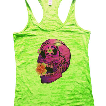 Flower And Skull Burnout Tank Top By BurnoutTankTops.com - 738