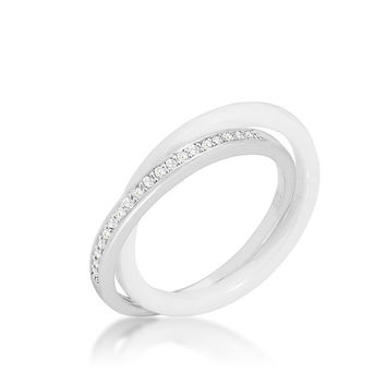 Karri Double Band White Ceramic Ring   0.2 Carat   Cubic Zirconia   Sterling Silver