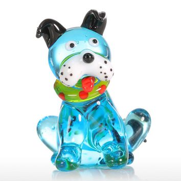 Glass Animal Mini Dog Figurine