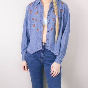 Vintage Floral Denim Chambray Button Up Shirt