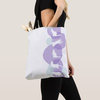 Cats Blue Violet Watercolor Effect Abstract Modern Tote Bag