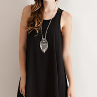 Crepe Rayon Shift Dress - Black