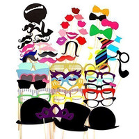 Idealgo hot sale Photo Booth Props 58 piece DIY Kit for Wedding Party Birthdays Photobooth Dress-up Accessories Party Favors, Costumes with Mustache on a stick, Hats, Glasses, Mouth, Bowler, Bowties