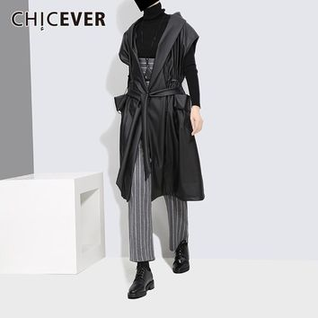 PU Leather Trench Coat Female Women's Windbreaker Loose Hooded Autumn Black Women Basic Coats Clothes Fashion