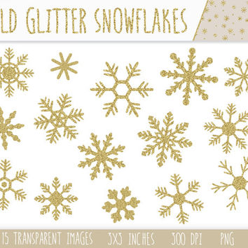 Glitter Snowflake Clip Art Set. Gold Sparkle Christmas Snowflakes Clip Art. Frozen, Holidays, Snow, Winter Digital Clipart.