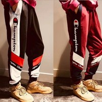Champion Fashion Unisex New Style Contrast Color Logo Print Sport Stretch Pants Trousers Sweatpants Joggers