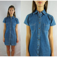 90s Denim DRESS blue jean short sleeves SMALL