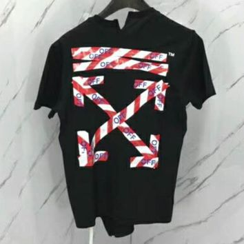 OFF-WHITE 2018 new red police ring irregular short-sleeved men's and women's T-shirt F-CN-CFPFGYS black