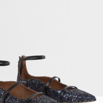 Boutique 1 - MALONE SOULIERS - Black Robyn Pointed Glitter Flats | Boutique1.com