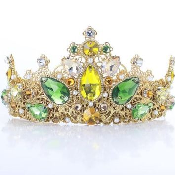 DIANA Yellow Bridal Tiara Crowns Green Crystal Rhinestone For Bride