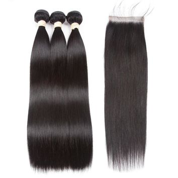 Natural Brazilian Remy Human Hair Straight 3 Bundles With Lace Closure