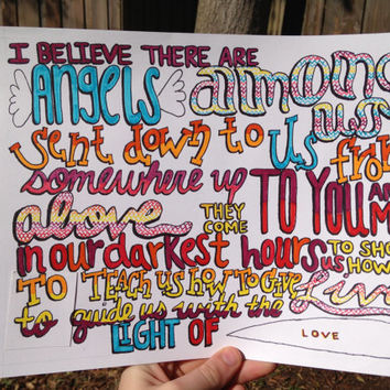 Angels Among Us Lyric Drawing by TaylorandEmilysEtsy on Etsy