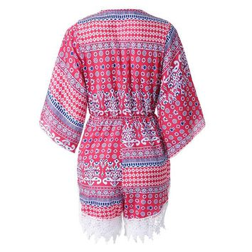 Stylish Plunging Neck Printed Lace Embellished Women's Romper