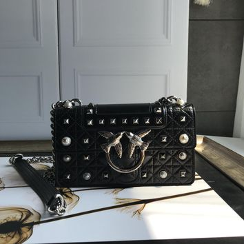 Kuyou Gb69729 Pinko Women¡¯s Love Bag Idillio In Leather With Studs And Pearls Black Clutch Bag 21-14-6cm
