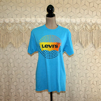 Levis Graphic Tee TShirt T Shirt Levi Strauss Logo Novelty Blue Unisex Womens Tshirt Womens Clothing Men's Clothing Vintage Clothing